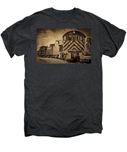 On The Tracks... Take Two. Men's Premium T-Shirt by Peggy Hughes