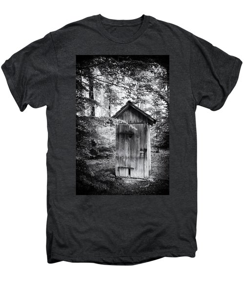 Outhouse In The Forest Black And White Men's Premium T-Shirt