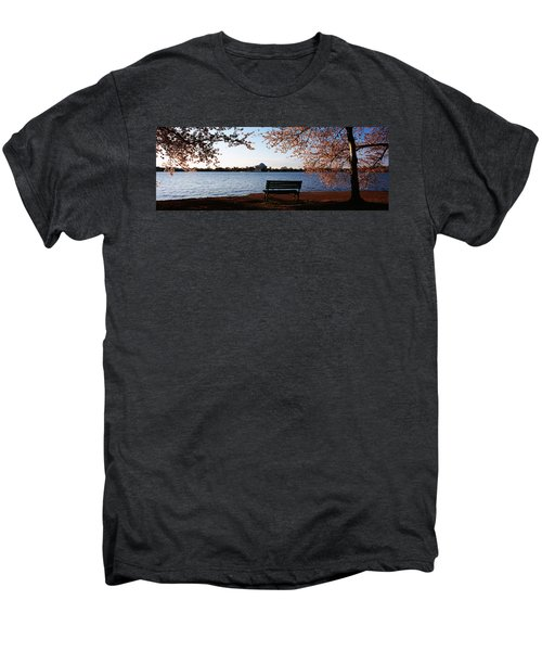 Park Bench With A Memorial Men's Premium T-Shirt by Panoramic Images