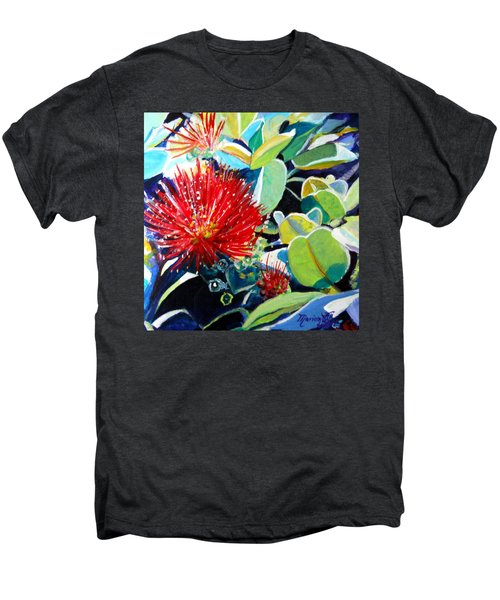 Red Ohia Lehua Flower Men's Premium T-Shirt