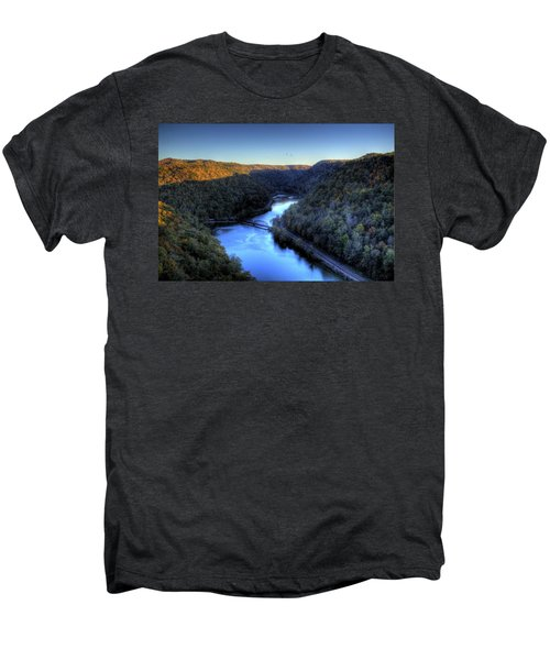 Men's Premium T-Shirt featuring the photograph River Cut Through The Valley by Jonny D