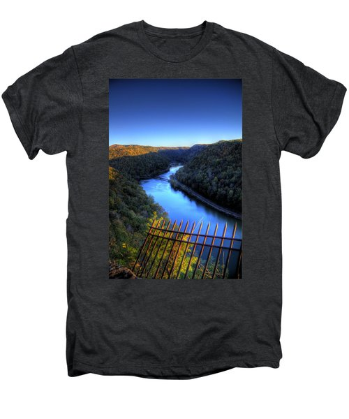Men's Premium T-Shirt featuring the photograph River Through A Valley by Jonny D