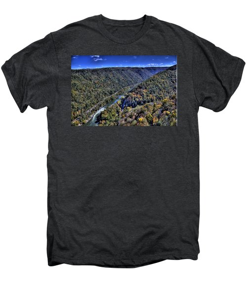 Men's Premium T-Shirt featuring the photograph River Through The Hills by Jonny D