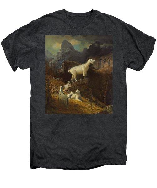Rocky Mountain Goats Men's Premium T-Shirt by Albert Bierstadt
