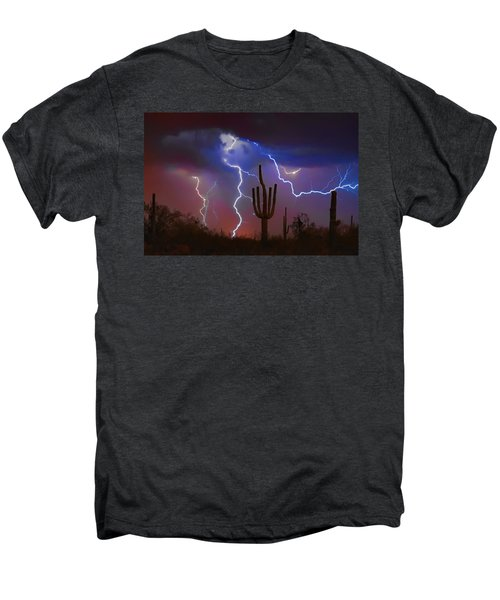 Saguaro Lightning Nature Fine Art Photograph Men's Premium T-Shirt