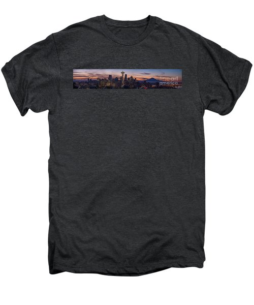 Seattle Cityscape Morning Light Men's Premium T-Shirt by Mike Reid