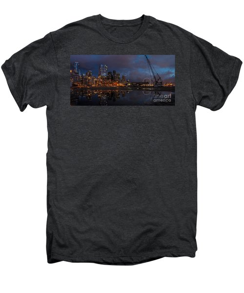 Seattle Night Skyline Men's Premium T-Shirt by Mike Reid