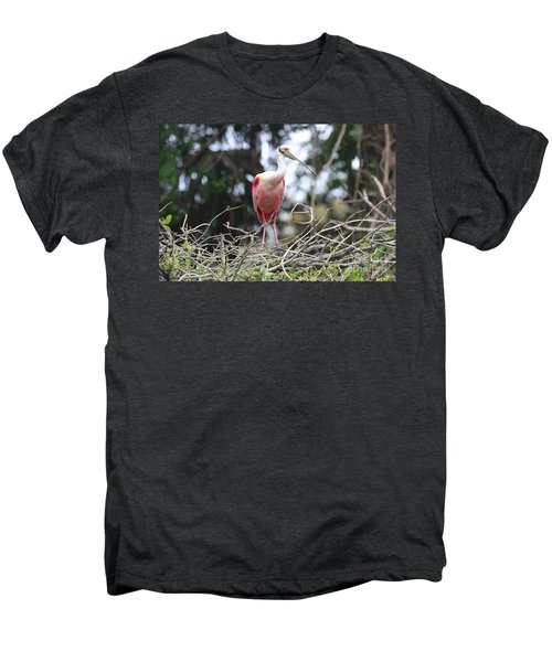 Spoonbill In The Branches Men's Premium T-Shirt by Carol Groenen