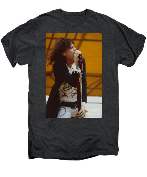 Steven Tyler Of Aerosmith At Monsters Of Rock In Oakland Ca Men's Premium T-Shirt by Daniel Larsen