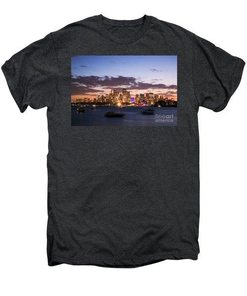 Sydney Skyline At Dusk Australia Men's Premium T-Shirt by Matteo Colombo
