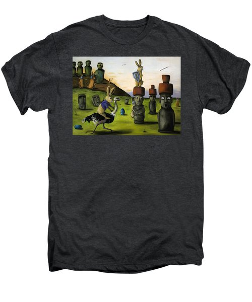 The Battle Over Easter Island Men's Premium T-Shirt by Leah Saulnier The Painting Maniac