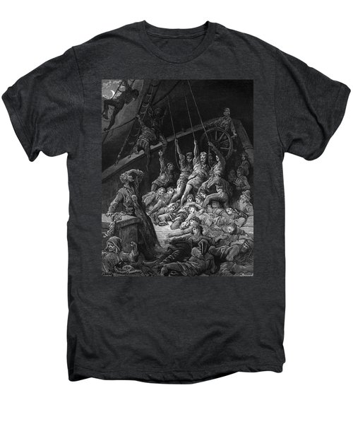 The Dead Sailors Rise Up And Start To Work The Ropes Of The Ship So That It Begins To Move Men's Premium T-Shirt by Gustave Dore