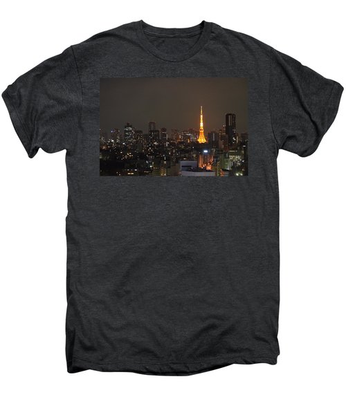 Tokyo Skyline At Night With Tokyo Tower Men's Premium T-Shirt by Jeff at JSJ Photography