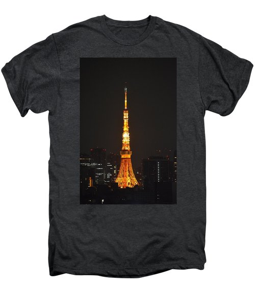 Tokyo Tower And Skyline At Night From Shinagawa Men's Premium T-Shirt by Jeff at JSJ Photography