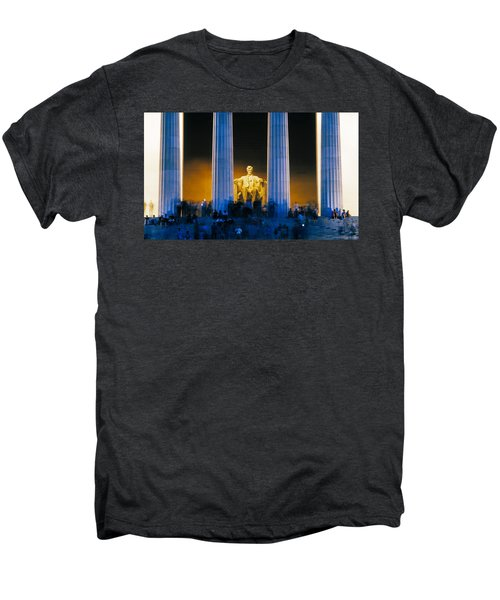 Tourists At Lincoln Memorial Men's Premium T-Shirt by Panoramic Images
