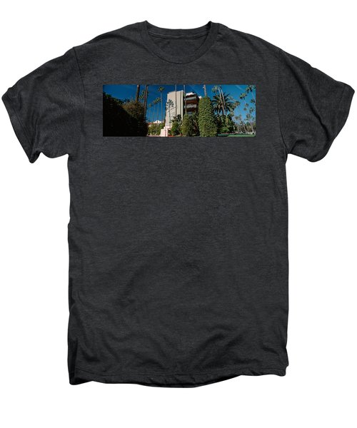 Trees In Front Of A Hotel, Beverly Men's Premium T-Shirt by Panoramic Images