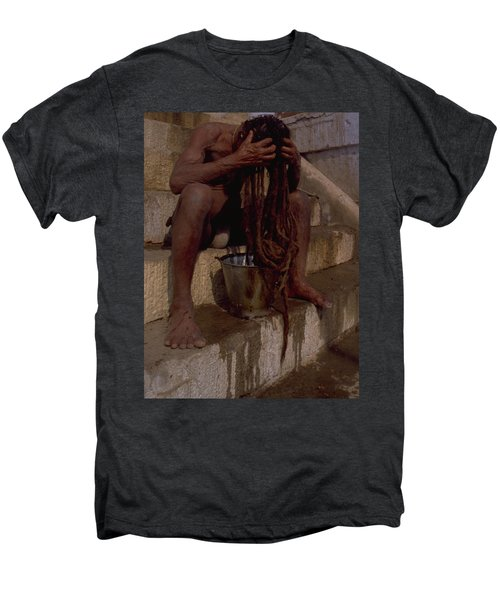 Men's Premium T-Shirt featuring the photograph Varanasi Hair Wash by Travel Pics
