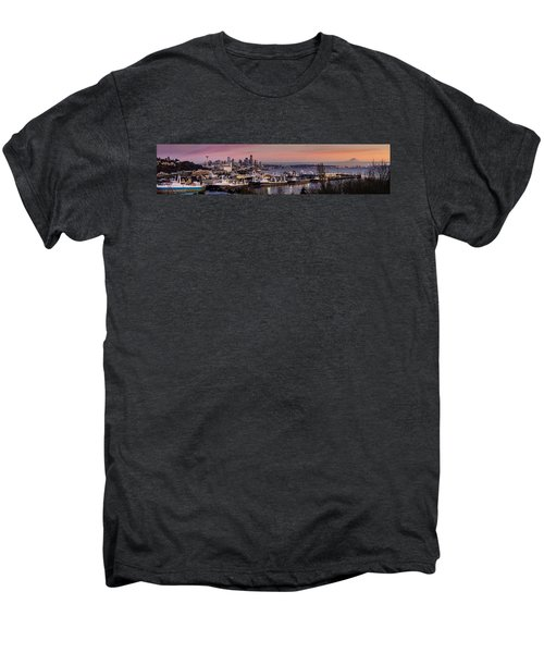 Wider Seattle Skyline And Rainier At Sunset From Magnolia Men's Premium T-Shirt by Mike Reid