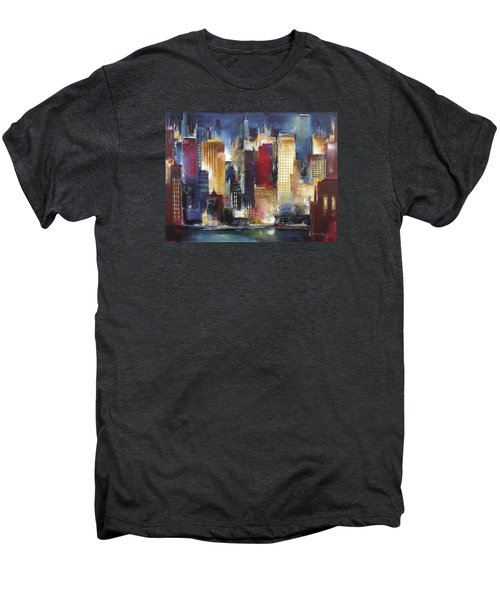 Windy City Nights Men's Premium T-Shirt by Kathleen Patrick