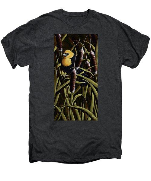 Yellow Headed Blackbird And Cattails Men's Premium T-Shirt