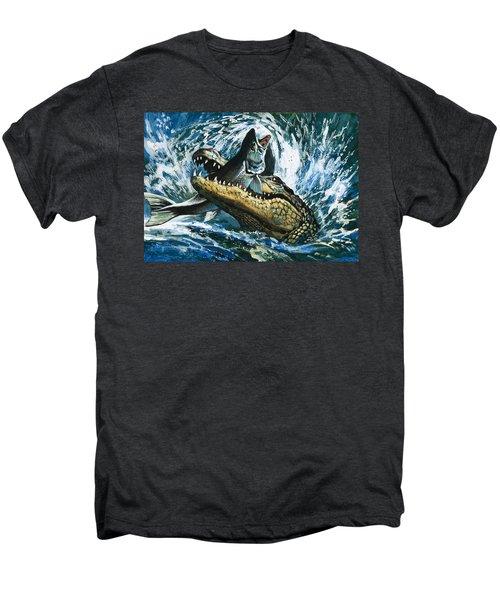 Alligator Eating Fish Men's Premium T-Shirt