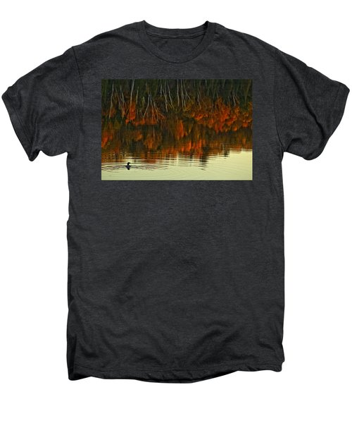 Loon In Opeongo Lake With Reflection Men's Premium T-Shirt by Robert Postma