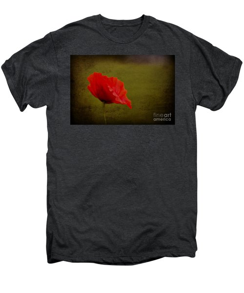 Men's Premium T-Shirt featuring the photograph Solitary Poppy. by Clare Bambers