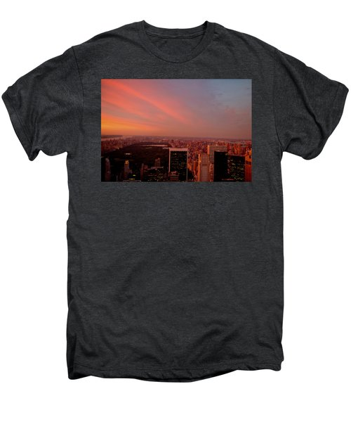 Sunset Over Central Park And The New York City Skyline Men's Premium T-Shirt