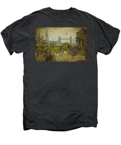 Men's Premium T-Shirt featuring the photograph Tower Bridge In Springtime. by Clare Bambers