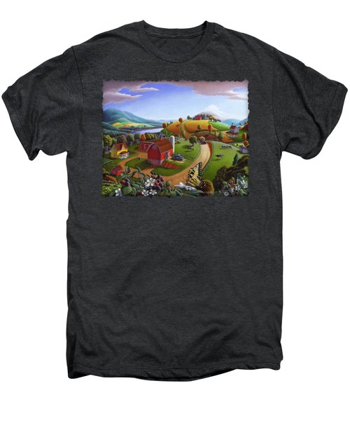 Folk Art Blackberry Patch Rural Country Farm Landscape Painting - Blackberries Rustic Americana Men's Premium T-Shirt