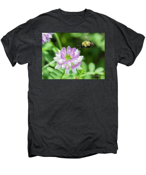 Bumble Bee Pollinating A Flower Men's Premium T-Shirt by Ricky L Jones