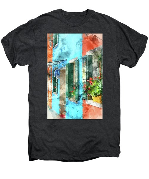 Colorful Houses In Burano Island Venice Italy Men's Premium T-Shirt