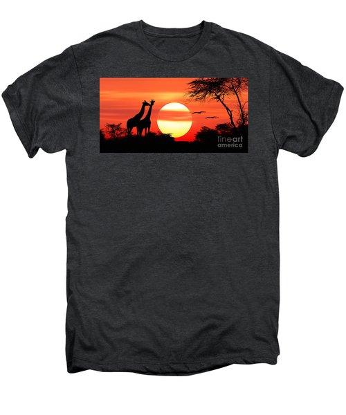 Giraffes At Sunset Men's Premium T-Shirt