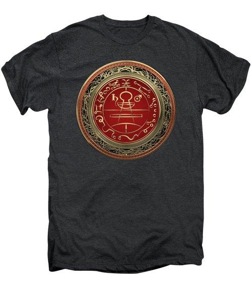 Gold Seal Of Solomon - Lesser Key Of Solomon On Black Velvet  Men's Premium T-Shirt