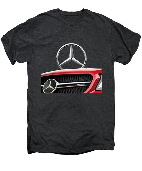 Red Mercedes - Front Grill Ornament And 3 D Badge On Black Men's Premium T-Shirt by Serge Averbukh