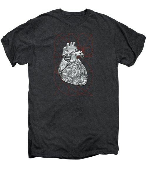 Silver Human Heart On Black Canvas Men's Premium T-Shirt