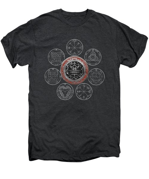 Silver Seal Of Solomon Over Seven Pentacles Of Saturn On Black Canvas  Men's Premium T-Shirt