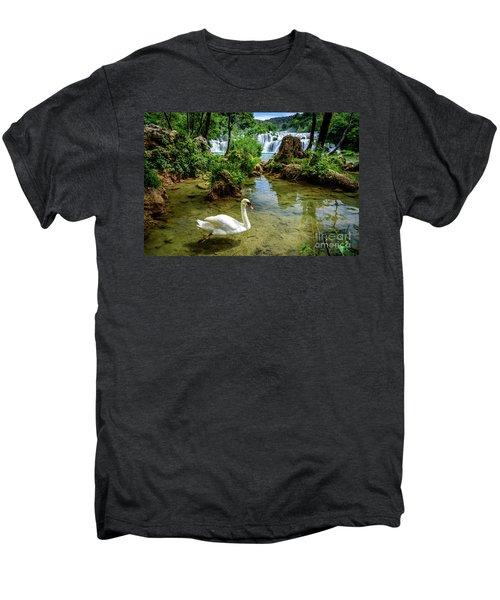 Swan In The Waterfalls Of Skradinski Buk At Krka National Park In Croatia Men's Premium T-Shirt