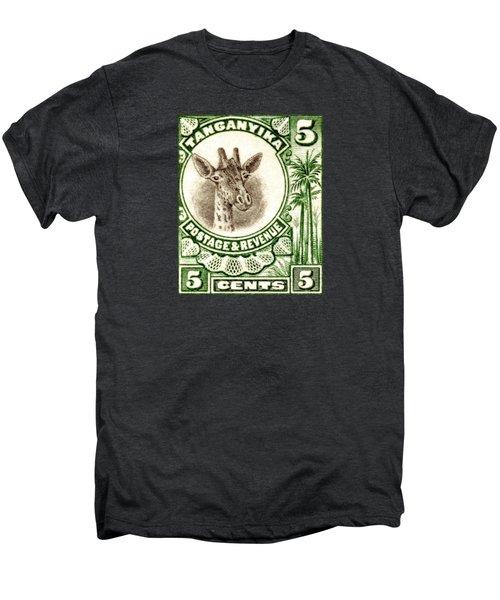 1922 East African Giraffe Stamp Men's Premium T-Shirt by Historic Image