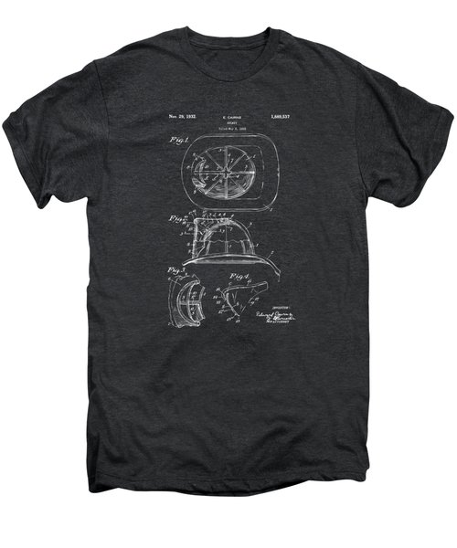 1932 Fireman Helmet Artwork - Gray Men's Premium T-Shirt by Nikki Marie Smith