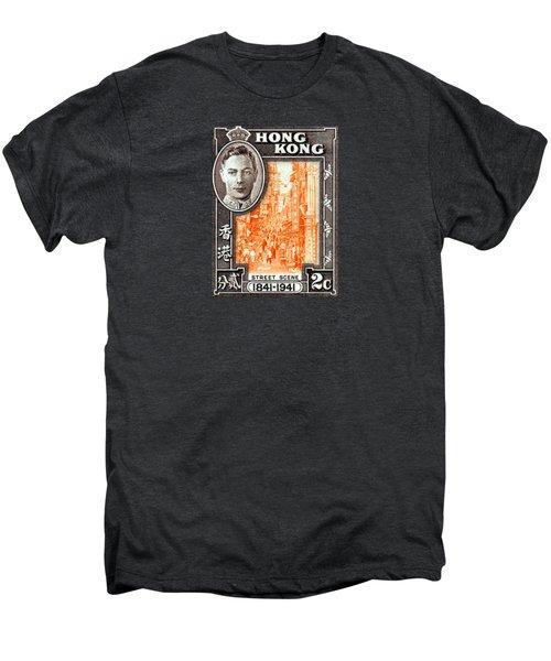 1941 Hong Kong Street Scene Stamp Men's Premium T-Shirt by Historic Image