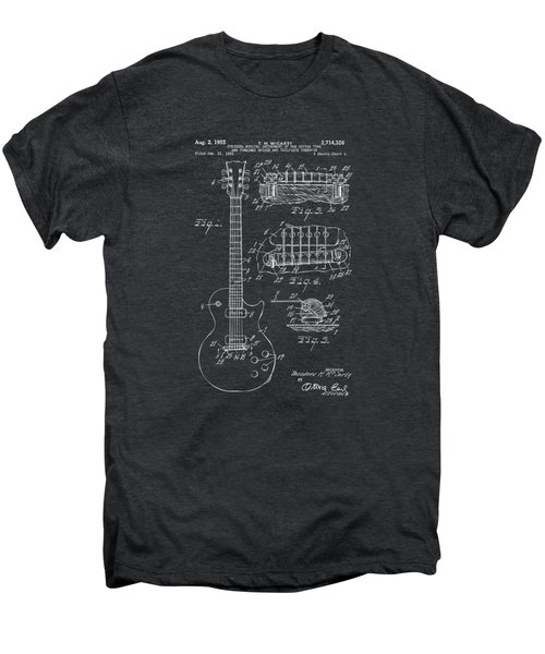 1955 Mccarty Gibson Les Paul Guitar Patent Artwork - Gray Men's Premium T-Shirt by Nikki Marie Smith