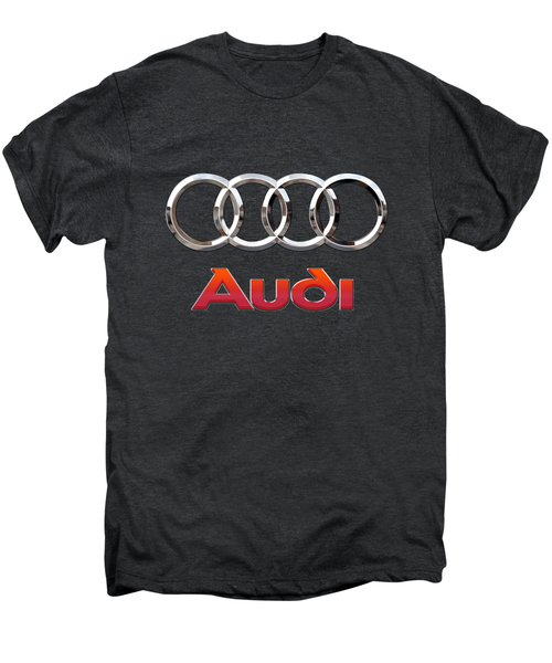 Audi - 3 D Badge On Black Men's Premium T-Shirt