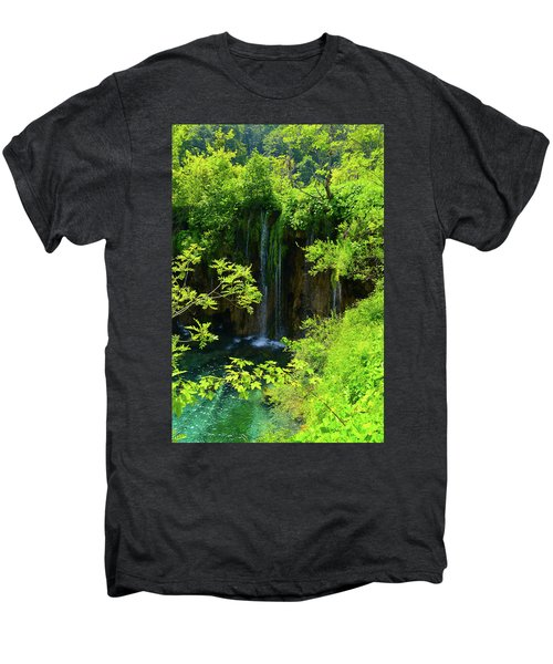 Waterfall In Plitvice National Park In Croatia Men's Premium T-Shirt