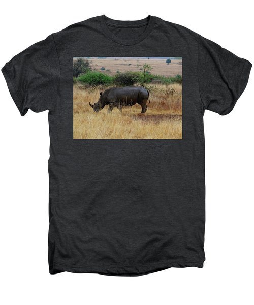 African Animals On Safari - One Very Rare White Rhinoceros Right Angle With Background Men's Premium T-Shirt