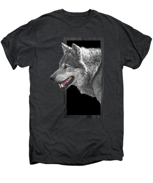 Alpha Male Wolf - You Look Tasty Men's Premium T-Shirt by Gill Billington
