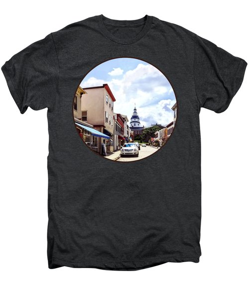 Annapolis Md - Shops On Maryland Avenue And Maryland State House Men's Premium T-Shirt