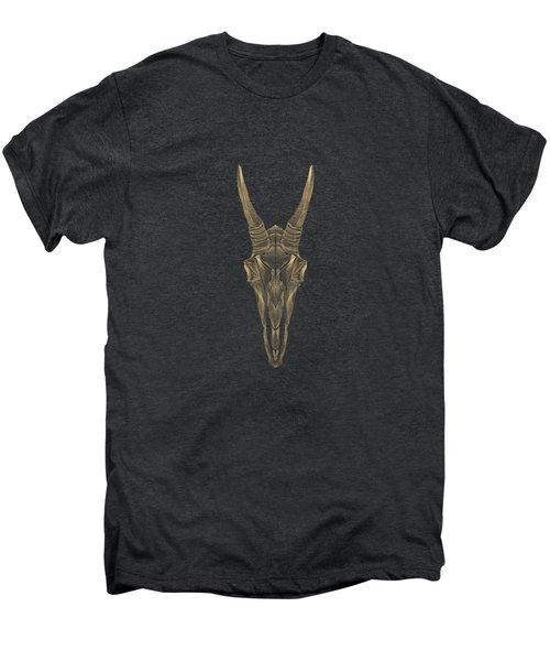 Horned Skulls - Gold Mountain Goat Skull X-ray Over Black Canvas No.1 Men's Premium T-Shirt