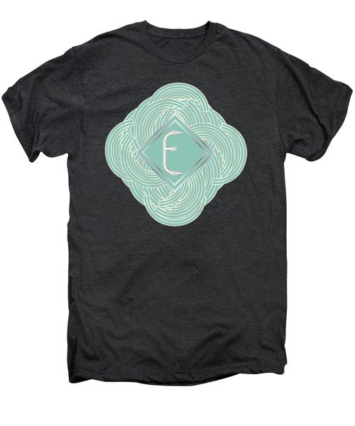 1920s Blue Deco Jazz Swing Monogram ...letter E Men's Premium T-Shirt by Cecely Bloom