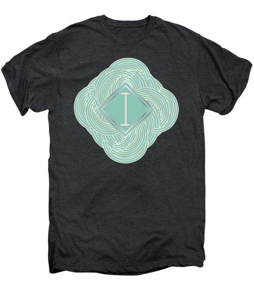1920s Blue Deco Jazz Swing Monogram ...letter I Men's Premium T-Shirt